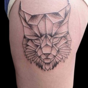 Tatuaje Lince Geometrico