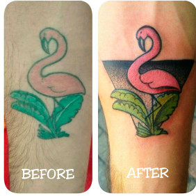 Tatuaje Coverup Flamingo
